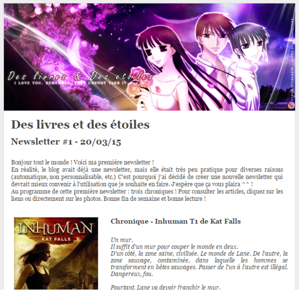 Capture d'écran de la nouvelle newsletter