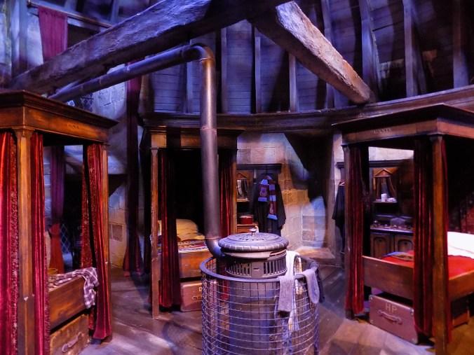 Le dortoir des Gryffondors, aux studios Harry Potter à Londres