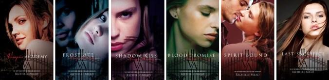 Couvertures anglophones de la saga Vampire Academy