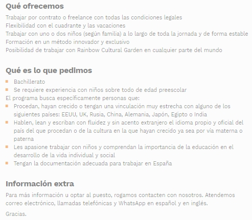 OFERTA EMPLEO RAINBOW CENTER MADRID