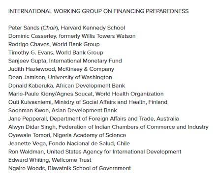 Nombres y País de Origen de los miembr@s del Grupo de Trabajo Internacional para la preparación ante pandemias
