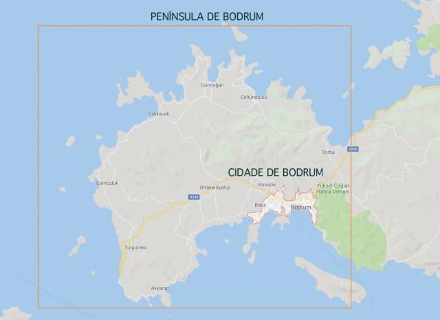 Mapa de Bodrum, na Turquia.