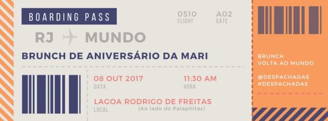 Convite para Aniversário com tema Volta Ao Mundo no formato de Boarding Pass