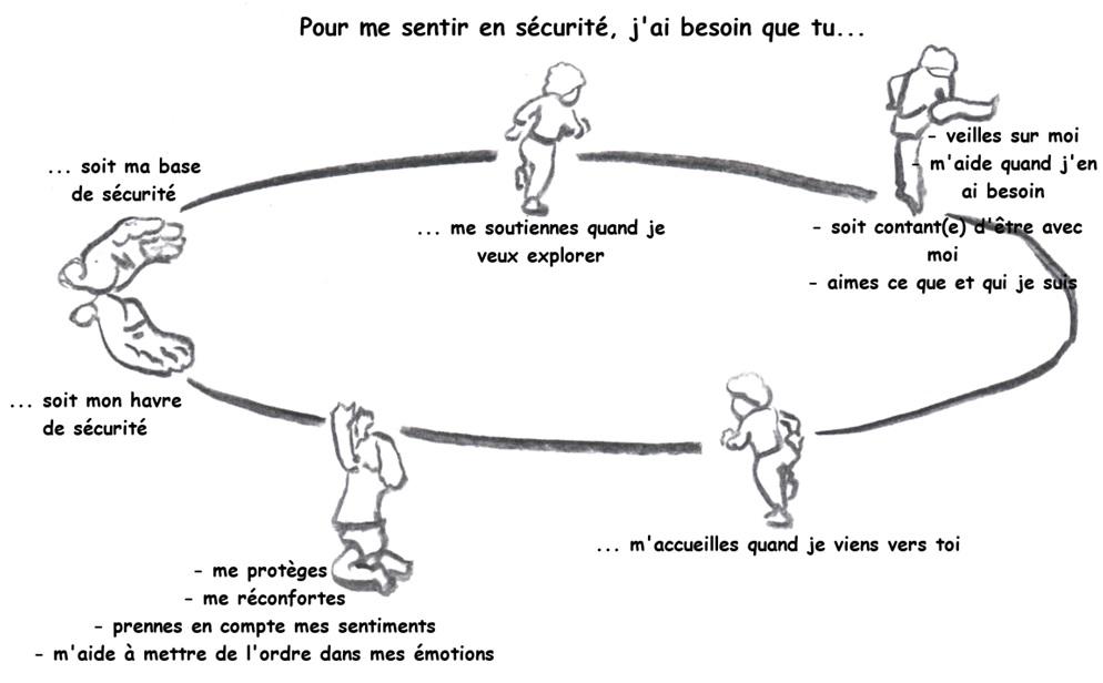 le cercle de sécurité de la théorie de l'attachement.