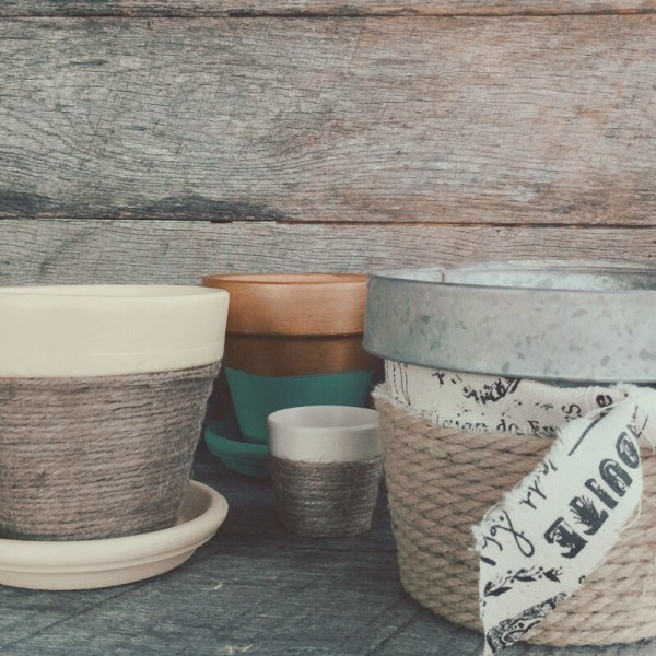Pin it & Spin It: Twine Wrapped Flower Pots