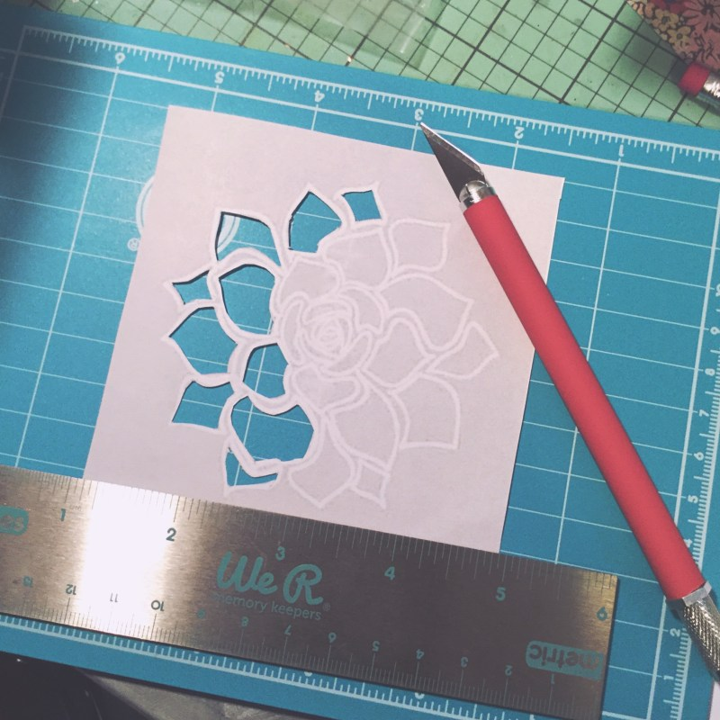Cut a succulent stencil for tracing.
