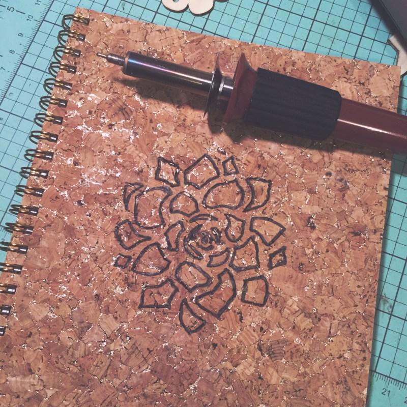 Wood burn a cork covered garden journal | Desperately Seeking Gina