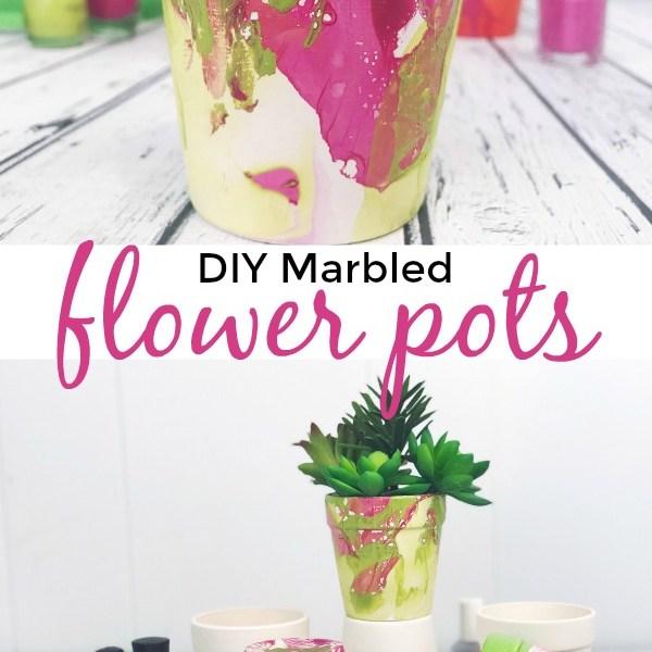 DIY Marbled Flower Pots