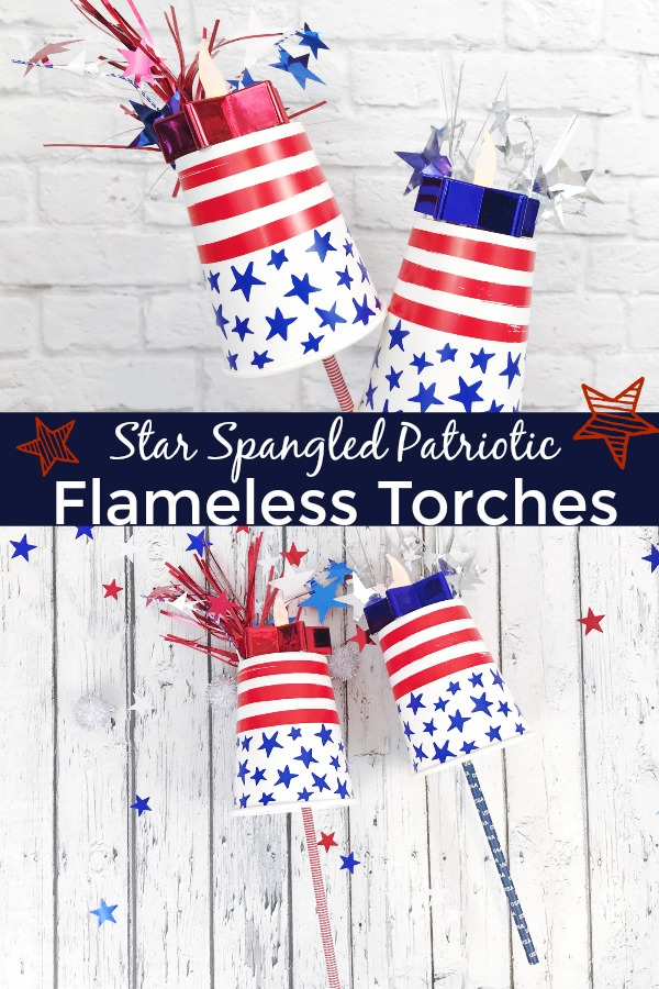 Patriotic flameless torches made out of paper cups and paper straws.
