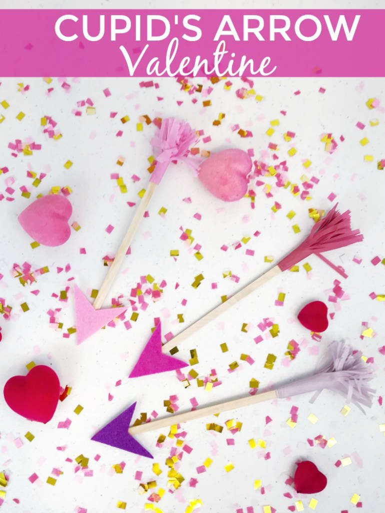 Cupid's Arrow Valentine craft for kids. Perfect Valentine gift for teachers, baby sitters, and day care providers. Easy and quick kid's craft for Valentine's day that is fun for the whole family. #ValentinesDay #kidscraft #dsgblog