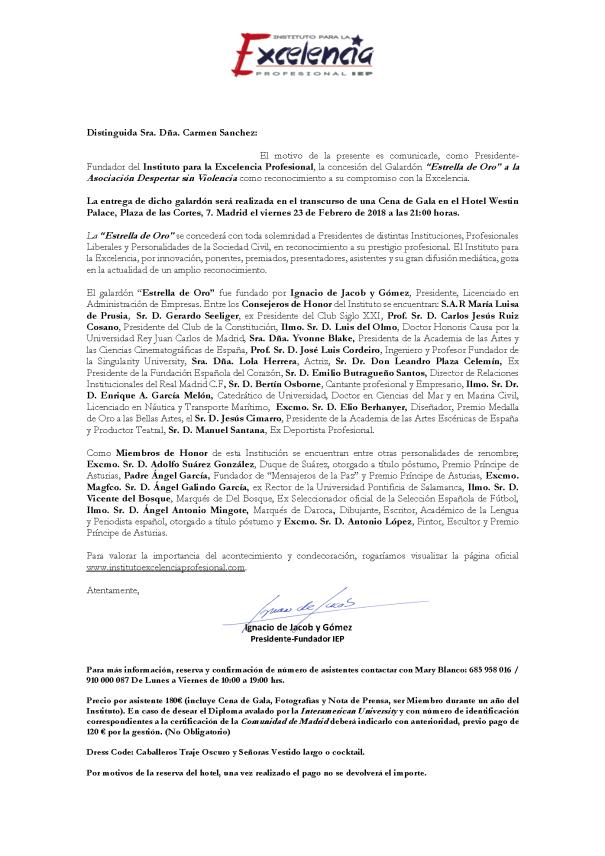 """Concesión del Galardón """"Estrella de Oro"""" a la Asociación Despertar sin Violencia"""
