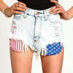 Shorts alto con el interior de la bandera de EE.UU