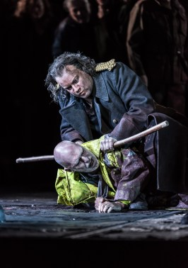OEDIPE by Georges Enesco; Royal Opera House; Covent Garden; London, UK; 20 May 2016; Johan Reuter as Oedipe; Alan Oke as Shepherd; Leo Hussain - Conductor; Àlex Ollé - Director; Valentina Carrasco - Associate Director; Alfons Flores - Set designer; Lluc Castells - Costume designer; Peter van Praet - Lighting designer; Photo: © ROH Photographer: CLIVE BARDA