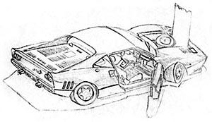 Dessin en cerveau droit de la maquette d'une Ferrari par Antoine, 14 ans, en 1984.