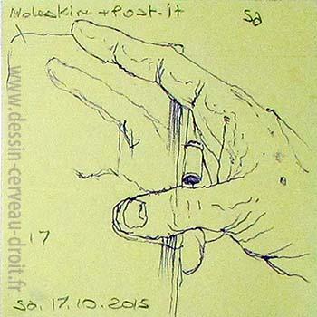 Dessin en abyme, sur Post-it, de sa propre main droite, réalisé par Richard Martens, dans le métro le 17 octobre 215.