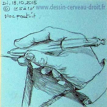 Dessin, sur Post-it, de sa main droite, réalisé par Richard Martens, dans le métro le 18 octobre 215.