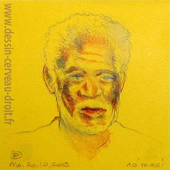 Portrait aux crayons de couleurs, sur Post-it, de Morgan Freeman, réalisé par Richard Martens, le 20 octobre 215.
