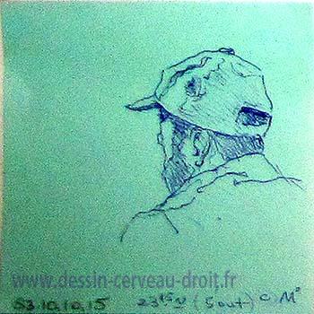 Croquis au stylo-bille, sur Post-it, d'une vue arrière de la tête d'un homme barbu, réalisé dans le métro Parisien, par Richard Martens, le 24 octobre 215.