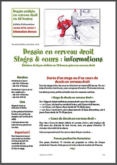 """Informations pour les stages de """"Dessin réaliste en Cerveau droit"""" pour 2018."""