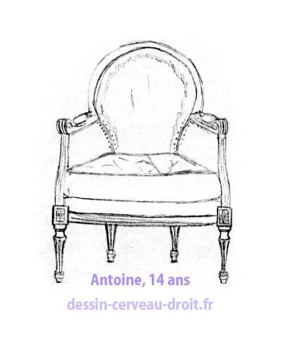 """Dessin d'un siège par Antoine, encore au début du stage, avant de commencer d'appliquer la méthode… Une sorte de """"photo de départ."""