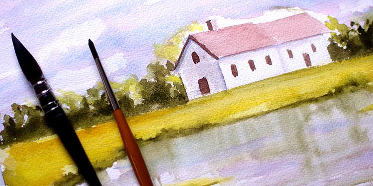 Cours D Aquarelle Debutant Peindre Un Paysage Simple Apprendre A Dessiner Avec Dessin Creation