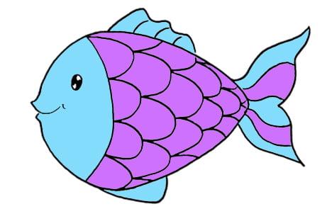 Dessiner un poisson: étape 5: coloriage en bleu et violet