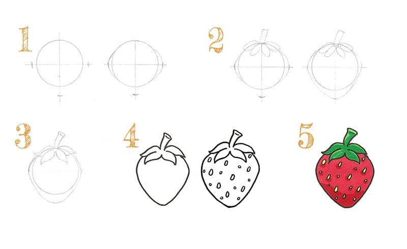 dessiner une fraise simplement étape par étape