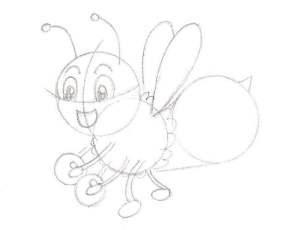 Dessiner la tête et les détails pour une abeille mignonne façon cartoon