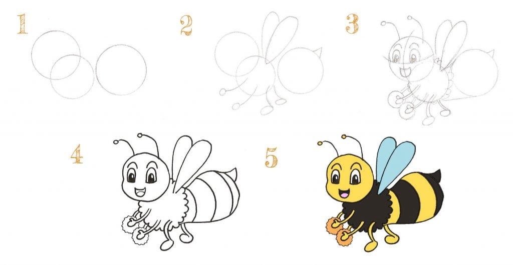 comment dessiner une abeille pour les enfants de 9 ou 10 ans? en 5 étapes