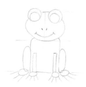 Les dernières formes avant de dessiner les détails de la grenouille