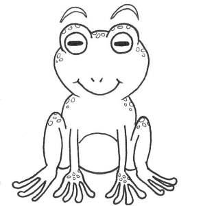 Repasse les contours de ton dessin de grenouille à l'encre