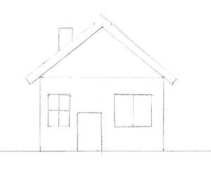 Dessiner une maison de face avec le toit vu de côté