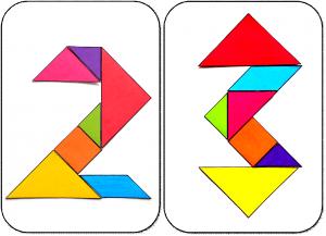 Chiffres 0 à 9 tangram maternelle ms chiffres 2 et 3