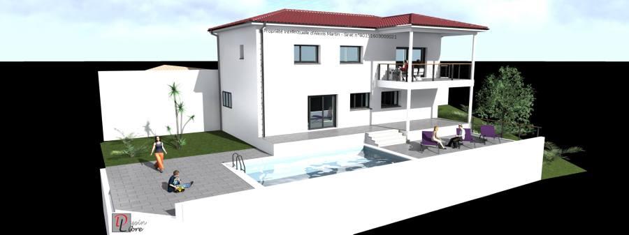 Maison Moderne Type L de 150 m² avec un Rez de Jardin et un Garage attenant- Castelnau d'Estretefonds (31)