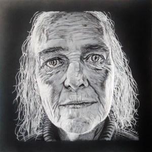 Dessin portrait d'Elise, femme d'après photo de Lee Jeffries