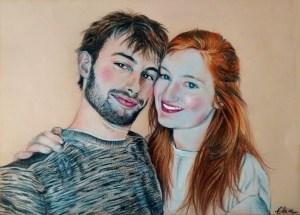 Portrait d'après photo de jeune couple