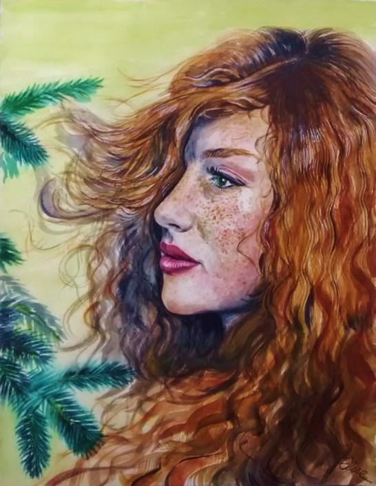Portrait dessin d'une femme bosniaque à la chevelure rousse