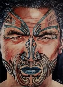 Portrait dessin d'un homme maori de Nouvelle-Zelande