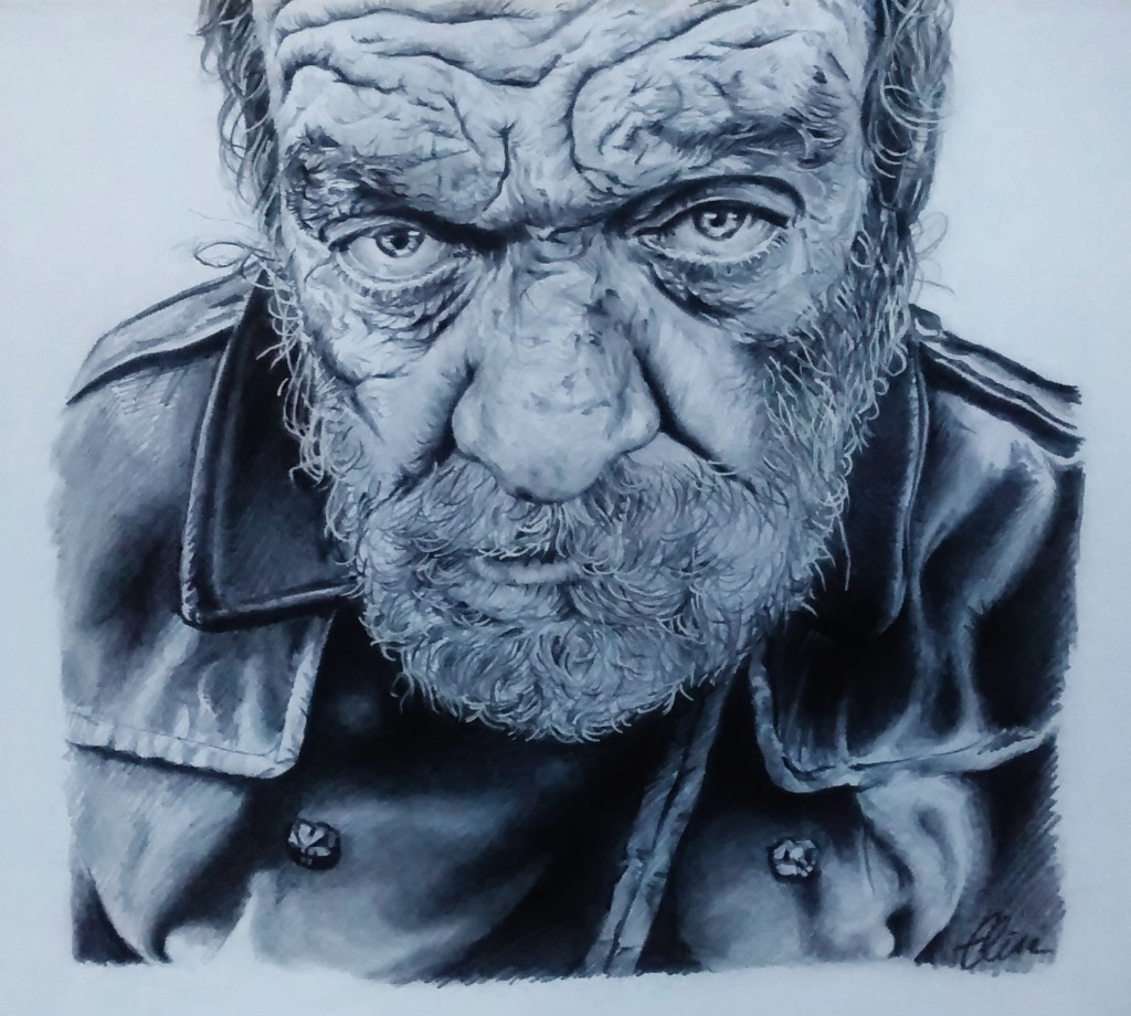 Dessin portrait d'un sans-abris au blouson noir d'après photo de Lee Jeffries