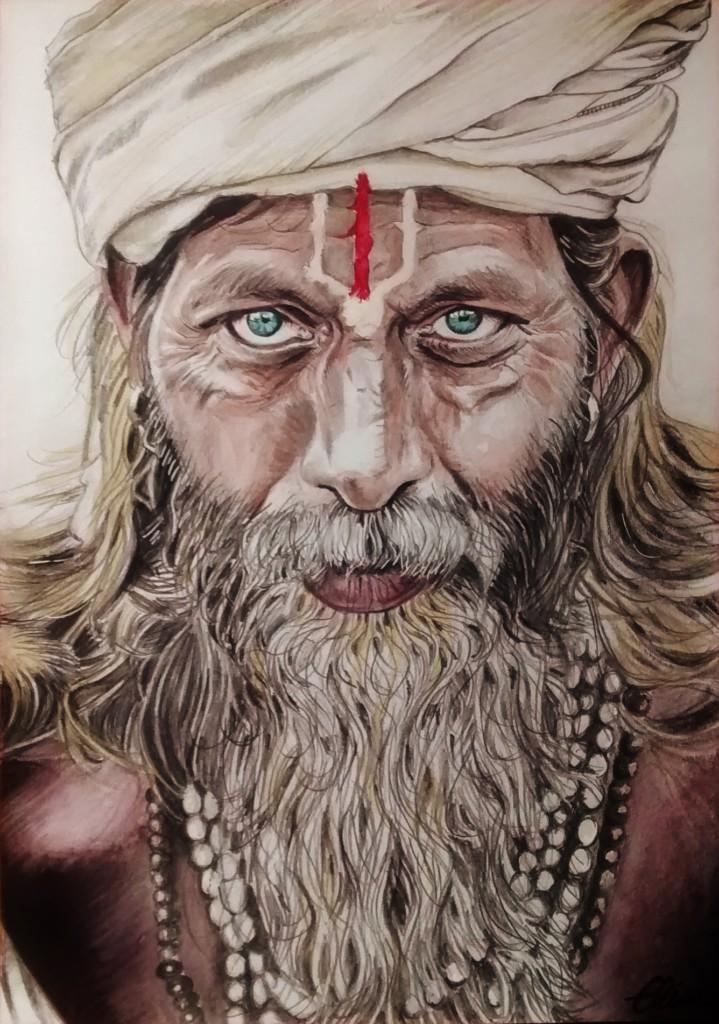 Dessin portraitd'un indien sadhu