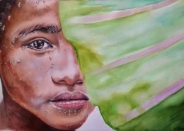 Dessin portrait d'un garçon thaïlandais derrière une feuille