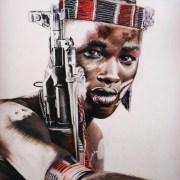Dessin portrait d'un jeune homme éthiopien avec son fusil