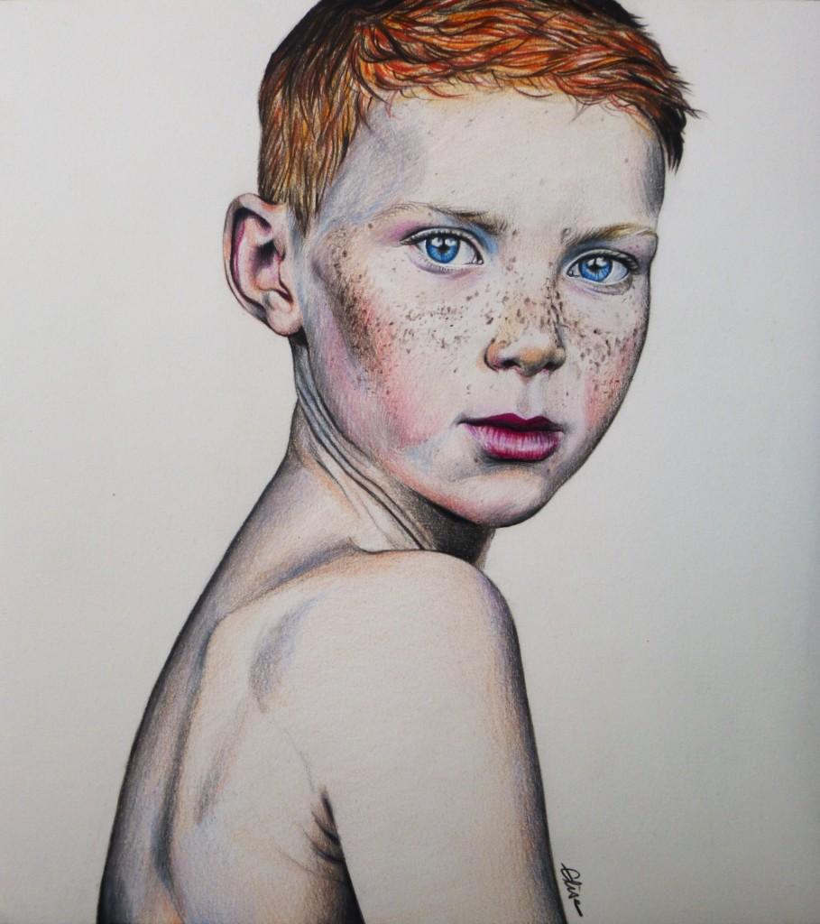 Dessin portrait d'un petit garçon aux-taches de rousseur