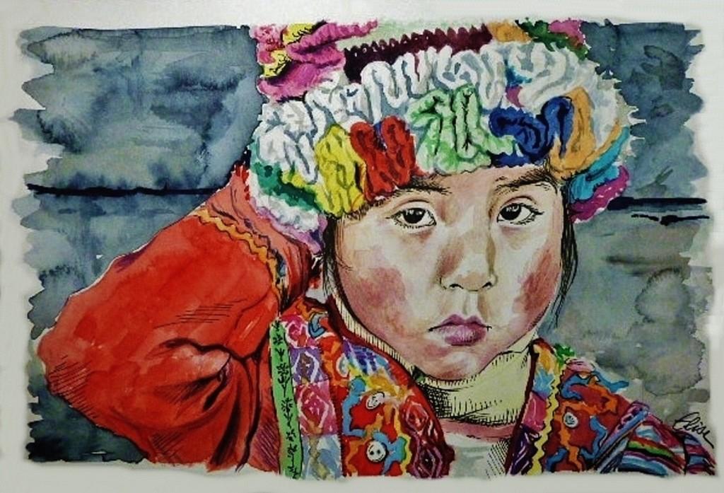 Dessin D Une Petite Fille Péruvienne Au Chapeau Multicolore