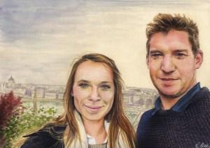 Portrait dessin d'après photo de couple à Budapest
