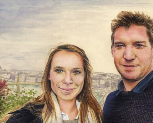 Portrait dessin d'après photo de couple à Budapest