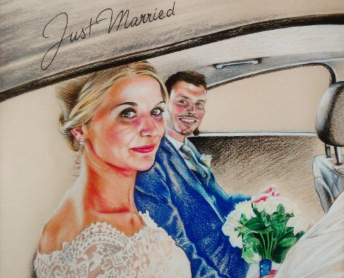 Portrait dessin de couple d'après une photo de mariage