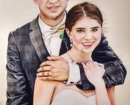 Portrait dessin de couple d'après photo de mariage