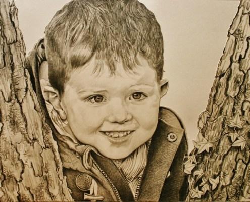 Portrait dessin d'après photo enfant d'un petit garçon