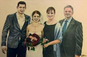 Portrait dessin d'après photo de famille lors d'un mariage